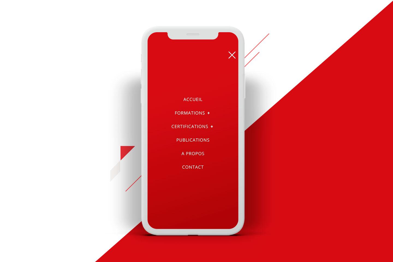 menu sur téléphone mobile