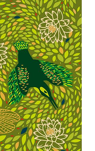 oiseau avec feuillage